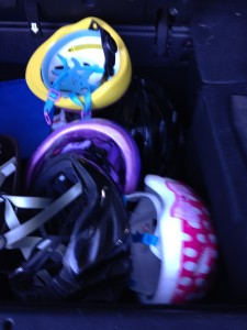 Made me happy to see 5 helmets in the trunk. God is good!