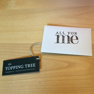 The Topping Tree gift certificate! www.theshortesttallman.com